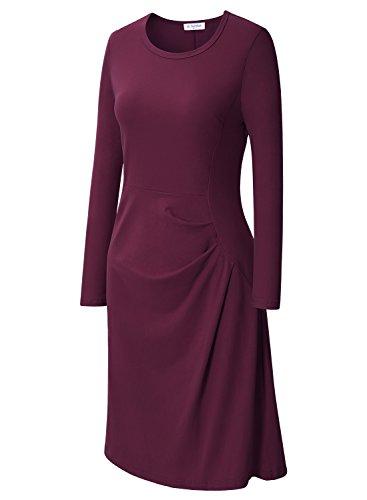Marrone A Midi Lunga Scollo V Avvolgente Lato Donna Vestito Shirring Manica Con Con Aderente Il Bulotus tC1fqxwZw
