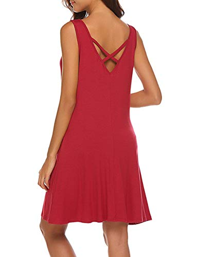 Women Summer Beach Casual Flared Midi Tank Dress Wine Red M ()