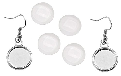 Earring Wire Hooks by JGFinds - 12mm Cabochon Settings, 40 Pack + 95 Glass Cabochons (Silver Tone)