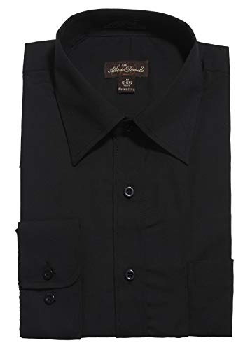 (Alberto Danelli Men's Solid Long Sleeve Dress Shirt , Black , Large / 16-16.5