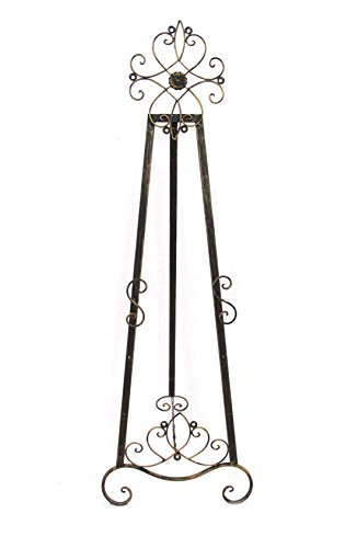 Designstyles Decorative Metal Easel Stand - Adjustable Floor Display for Art Pieces, Signs, Mirrors and Chalk/Dry Erase Boards - 61