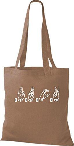 Shirtstown - Bolso de tela de algodón para mujer Caramelo