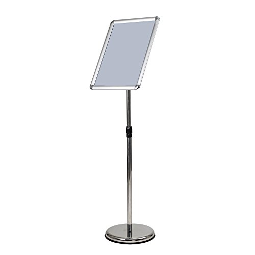 ShowMaven A3 Poster Stand, Vertical/Horizontal Pedestal Sign Holder with Height Adjustable with Steel Base, Aluminium Frame, Floor Stand Display for Exhibition Library Restaurant (Silver) by ShowMaven