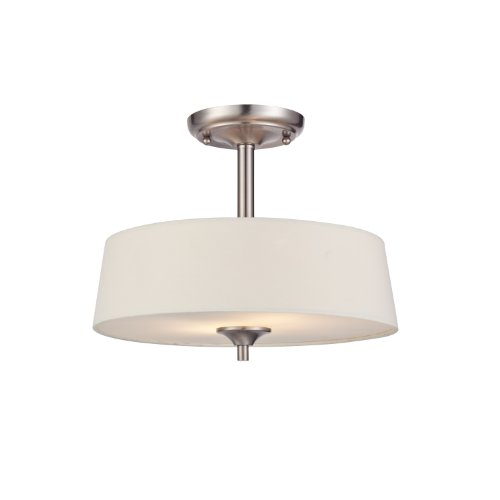 Westinghouse 6225700 Parker Mews Two-Light Interior Semi-Flush Ceiling Fixture, Brushed Nickel Finish with White Linen Fabric Shade