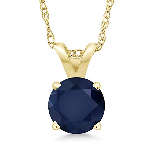 Gem Stone King 14K Yellow Gold Blue Sapphire Pendant Necklace (1.00 Ct Round Gemstone Birthstone With 18 Inch Chain) ()