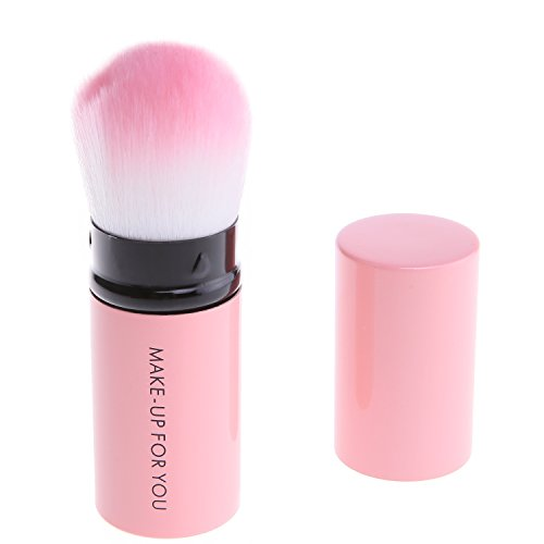 Dasior Retractable Kabuki Makeup Brush with Removable Caps-Ideal for Blending, Foundation,Powder,Bronzer,Travel Flat Pink