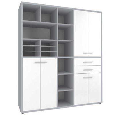 Aufbewahrungsschrank Farbe: Platingrau / Weißglas