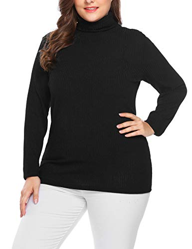 Stretch Knit Pullover - IN'VOLAND Women's Plus Size Turtleneck Sweater Pullover Stretch Knit Tunic Long Sleeve Slim Sweater Jumper