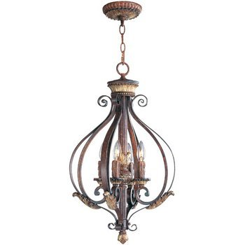 Verona Collection Pendant (Livex Lighting 8556-63 Villa Verona 4 Light Verona Bronze Finish Foyer Chandelier with Aged Gold Leaf Accents and Rustic Art Glass)