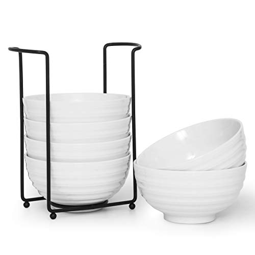 28 Ounce Porcelain Bowl Set Deep Bowl for Cereal Soup Salad with Bowl Organizer, Spiral ()