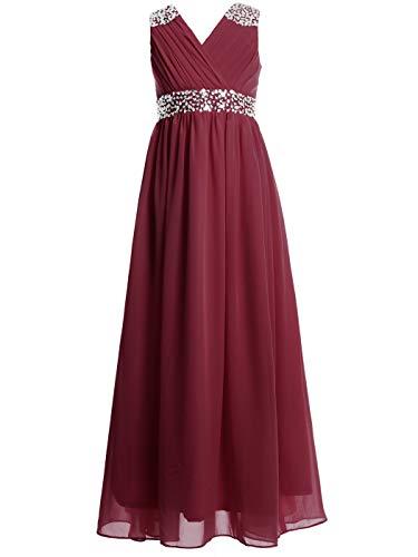 FAIRY COUPLE Girl's Embellished V-Neck Long Flower Girl Dress for Wedding K0156 6 Wine