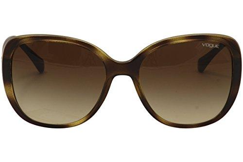 VOGUE Women's Injected Woman Oval Sunglasses, Dark Havana, 56 mm