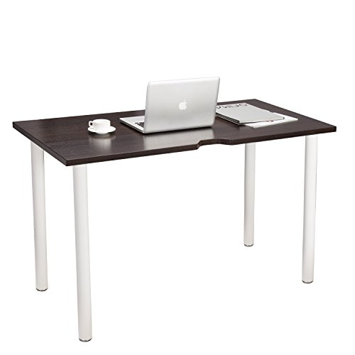 """TOPSKY Home Office Computer Desk 47"""" Workstation with Caster/Foot Wire management hole 0.98inch Thickness Board(Walnut)"""