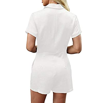 Vetinee Womens Summer Belted Romper Keywhole Back Short Sleeve Jumpsuit Playsuit: Clothing