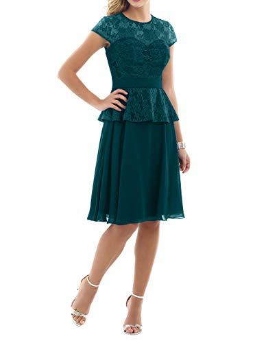 A Ballkleider Abendkleider Charmant Brautjungfernkleider Knielang Kurzarm Blau mit Gruen Linie Damen Partykleider Rock Chiffon ttpq0gw