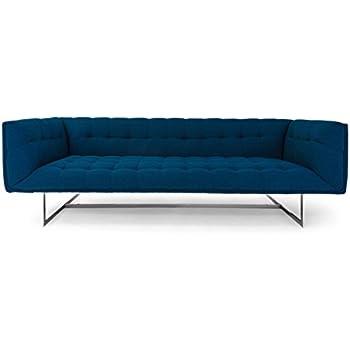 Kardiel Edward Mid-Century Modern Classic Sofa, Oxford Blue Vintage Tailored Twill, Stainless Steel