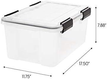 IRIS USA UCB-SS WEATHERTIGHT Storage Box, 6 Pack, 19 Quart, Clear, 6 Count