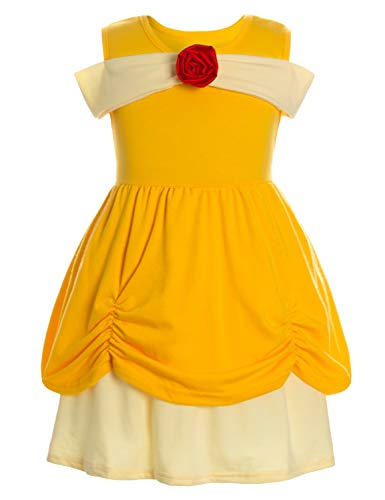 Princess Belle Costume Dress Up Outfits for Infant Toddler Girls/Yellow Easter Birthday Dresses 9-18 Months -
