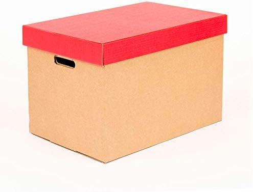 Kartox | Cajas de almacenamiento con tapa roja mate | Cajas para mudanza y almacenaje de cartón con asas | Cajas se cartón muy resistente |53.2x33.1x32.5 (largo x ancho x alto) en
