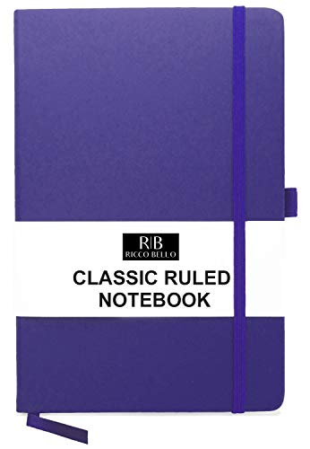RICCO BELLO A5 Classic College Ruled Banded Notebook, Pen Loop, 192 pages, 5.7 x 8.4 in. (Purple)