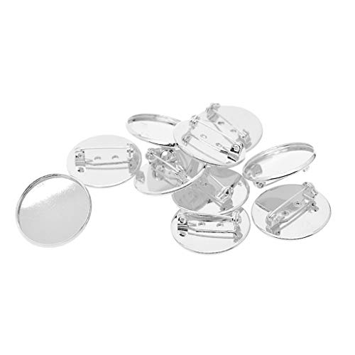 Baosity 10Pcs 25mm Brooch Making Blank Cabochon Bezel Setting Trays for Badge - White