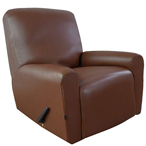 (Easy-Going PU Leather Recliner slipcovers, Waterproof Stretch Recliner Covers, 4 Pieces Stretch Furniture Protector, Anti-Slip Elastic Strap Shield(Recliner, Coffee))