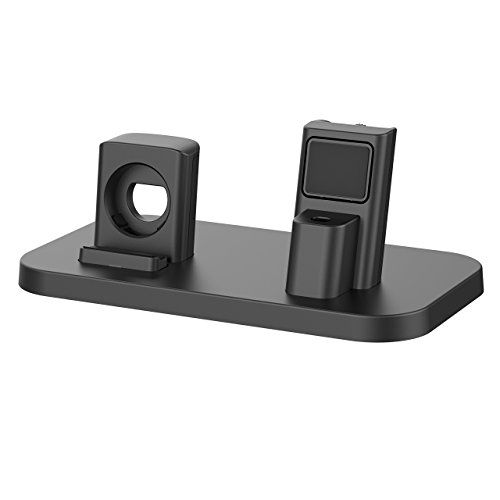 Apple Watch Stand, BEACOO Charging stand Dock Station -- Support Apple Watch NightStand Mode and iPhone 7/7 plus/SE/5s/6S/PLUS with Various Case (Black) by BEACOO (Image #1)