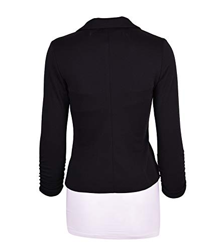 Auliné Collection Women's Casual Work Solid Color Knit Blazer Black Large