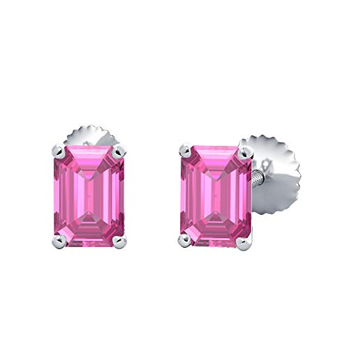 (10X12MM) Emerald Cut Created Pink Sapphire Solitaire Stud Earrings 14K White Gold Over .925 Sterling Silver For Women's