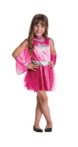 - 31o omll4PL - Rubies Girls Pink Supergirl Dress With Tutu Skirt Costume Size Large 10/12