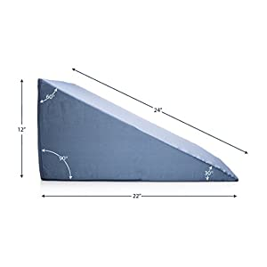 Back Bed Wedge - Clinical Therapeutic Grade Incline Sleeping Wedge Pillow - Acid Reflux GERD Reliever, Pain Relief, Snoring Reducer, Pregnancy - Uni sex Blue