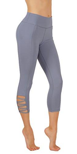 1 Back Pocket (Vesi Star Women's Yoga Capri Pants Straps Detailing on Sides Workout Laggings Back Zipper Pocket Sports and Fashion 2 in 1 (XS USA 0-2, VSC110-L.BLU))