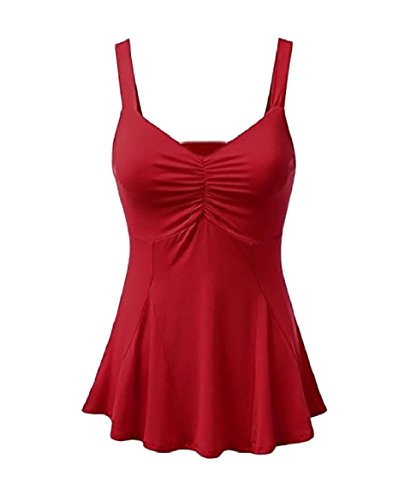 論争の的同行するバンジョーTootess Women's Smocked Waist Ruched V Neck Pure Colour Tank Top