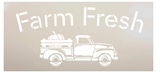 Pumpkin Patch Pick Your Own-Truck Stencil by StudioR12 | Wood Signs | Word Art Reusable | Fall | Painting Chalk Mixed Media Multi-Media | Use for Journaling, DIY Home - Choose Size (16