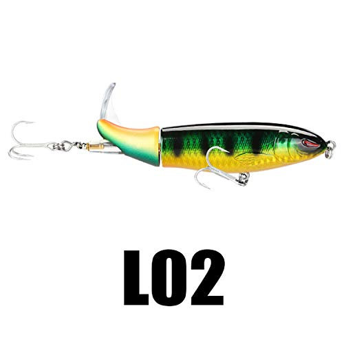 k 1PC Fishing Lure 13g 90mm / 39g 130mm Topwater Rotating Tail VMC Hooks Bass Fishing Bait,L02 1PC,13g 90mm ()