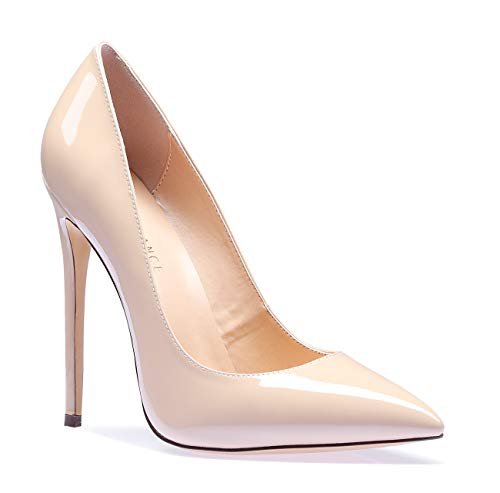 SUNETEDANCE Women's Slip-on Pumps High Heels Pointy Toe Sexy Elegant Stiletto Heels 12CM Heel Shoes Patent Beige Pump 7.5 M - Toe High Heel Stiletto Pointy