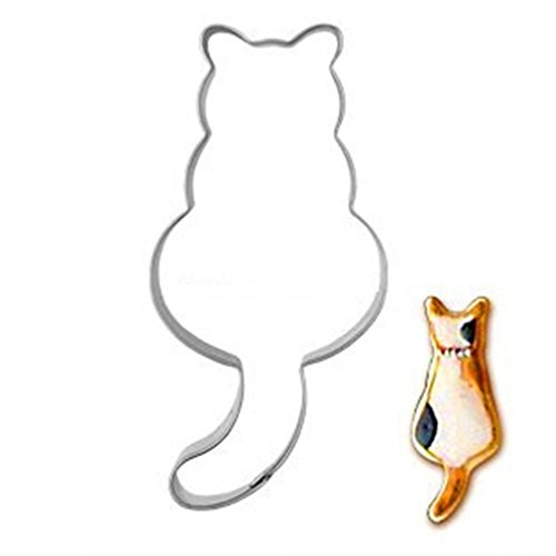 HENGSONG Silver Stainless Steel Cute Animal Cake Cookie Cutter Mould Baking Biscuit Moulds Cake Decorating Tools (Cat)