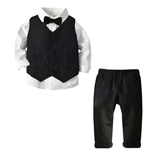 SANGTREE Baby /& Little Boy Tuxedo Outfit Plaids Shirt Suspender Pants