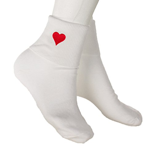 Sock Patch Embroidered - Red Heart Bobby Socks - w Embroidered Appliques - Womens Novelty Socks Sz 9-11