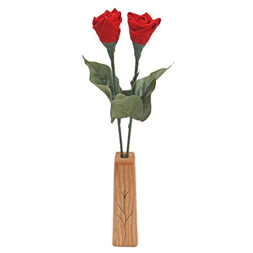 3rd Wedding Anniversary gift 2-stem leather roses with vase
