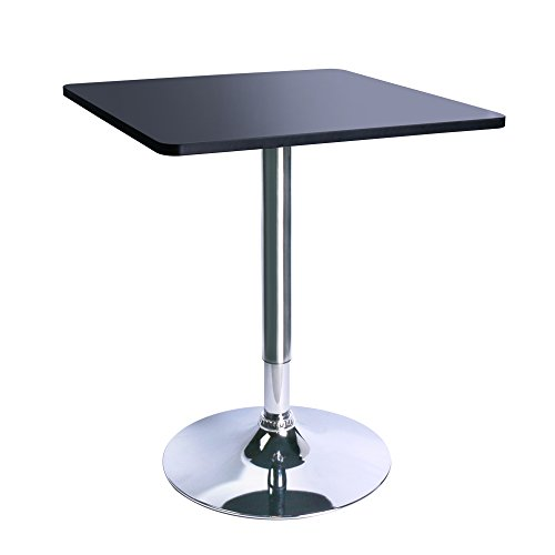 Leopard Square Top Adjustable Bar Table,Pub Table with Silver Leg and Base, Black ()