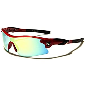 Half Frame Kids Teen Age 8-16 Performance Baseball Cycling Running Sport Sunglasses Color Mirrored Lens (Red/Black Tips)