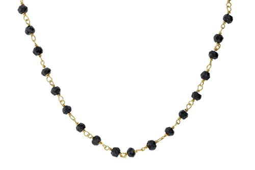 Gold-Tone Sterling Silver Wire Natural Black Spinel Gemstone Bead Chain Stone Link Handmade Rosary Necklace 16 Inches (Black Bead Spinel Necklace)