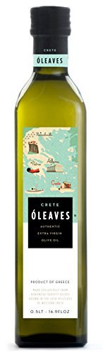 (O'LEAVES Crete - Greek Cold Pressed EVOO Extra Virgin Olive Oil, 2017 Harvest 17-Ounce Glass Bottle)