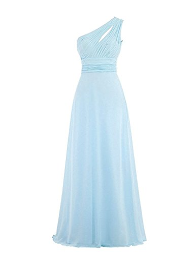 Bridesmaid Dresses Evening Light Prom ASBridal One Blue Shoulder Dresses Long Chiffon Women's qTTaxwXUB
