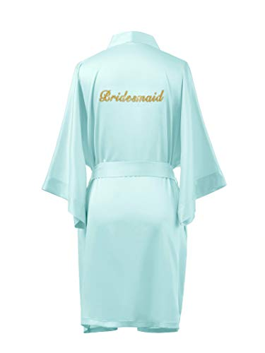 obes for Bridesmaid Personalized Silk Bathrobe Wedding Party Short Kimono Dressing Gown,Mint Green M ()