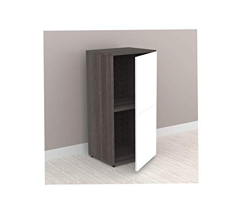 Nеxеrа Deluxe Premium Collection Allure 1-Door Bookcase Ebony and White Decor Comfy Living Furniture