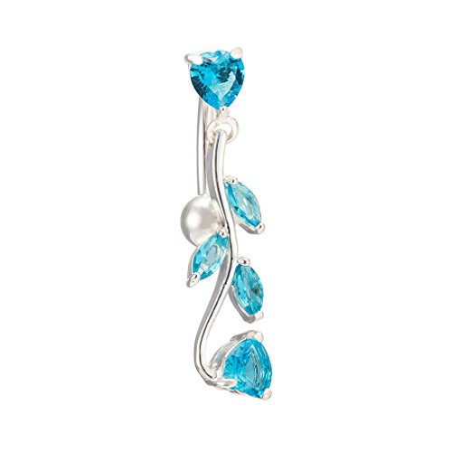 Devil Belly Ring - YHMM 14G Surgical Steel Belly Button Rings Navel Barbell Stud With Leaves Body Piercing. (Bule)
