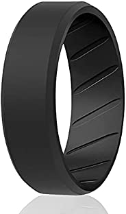 ROQ Silicone Rings for Men Breathable Mens Silicone Rubber Wedding Rings Bands - Duo Collection Beveled Edge