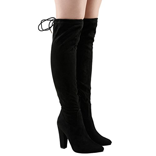 Feet First Fashion Ivone Womens Mid Block Heel Over The Knee Tie Top Boots Black Faux Suede BzjNK9